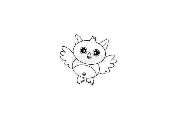 猫头鹰简笔画图片步骤四
