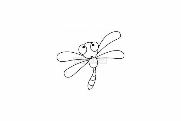 蜻蜓简笔画图片步骤四