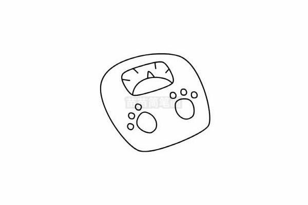 体重秤简笔画图片步骤五