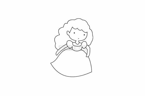 仙蒂公主简笔画图片步骤五