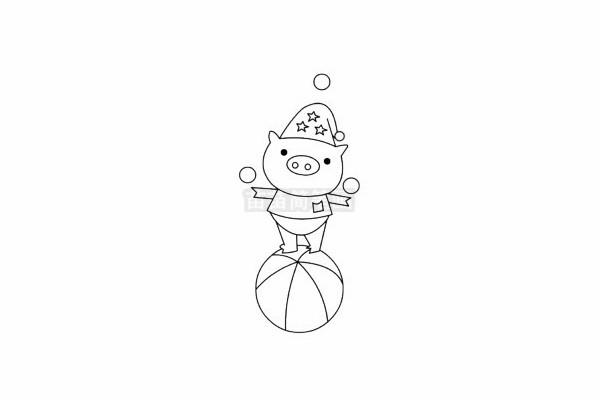 小猪简笔画图片步骤五