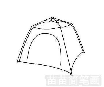 帐篷简笔画图片步骤四