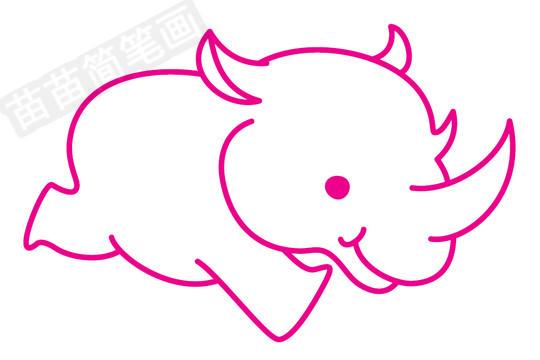 犀牛简笔画图片步骤三