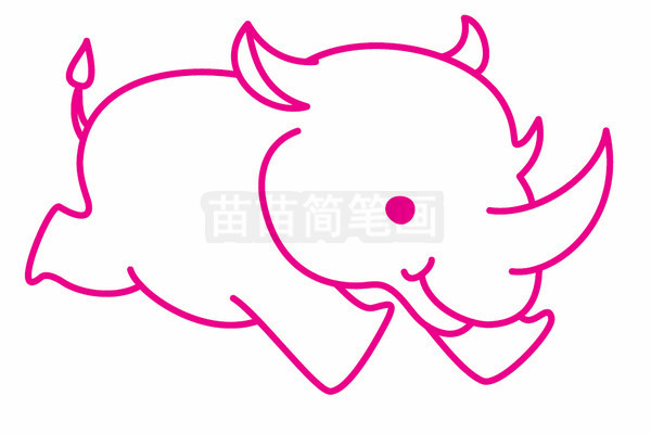 犀牛简笔画图片步骤五