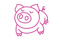 小猪简笔画图片大全、教程