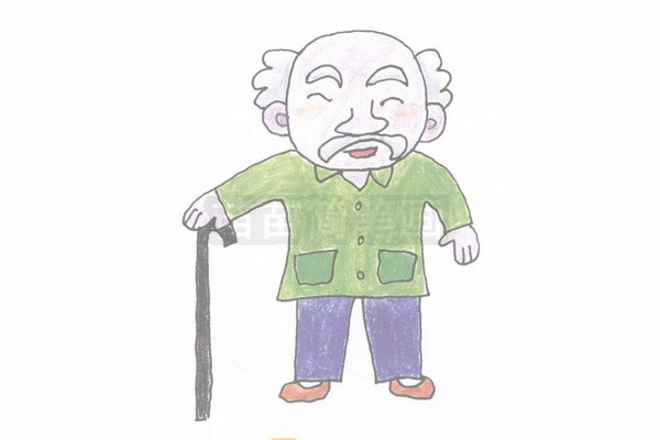 老人简笔画图片步骤四