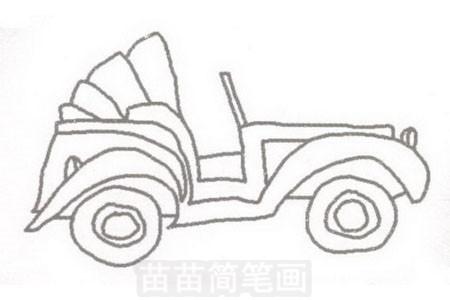 老爷车简笔画图片步骤三