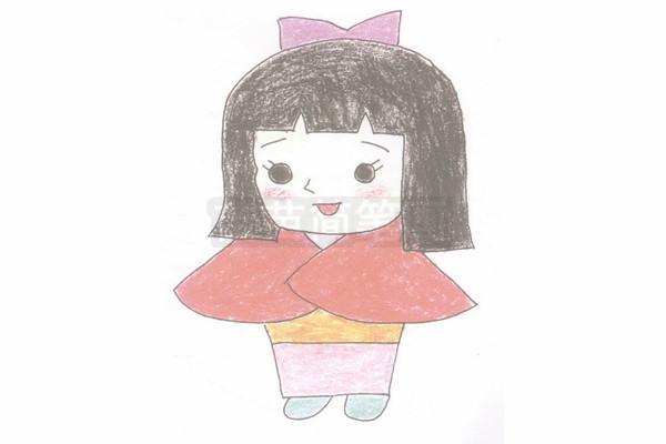 《聪明的一休》女主角小叶子简笔画图片步骤四