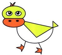 用图形组成的鸭子简笔画怎么画