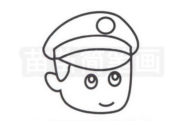 警察简笔画怎么画步骤三