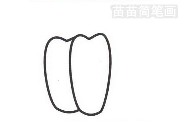 辣椒简笔画怎么画步骤二