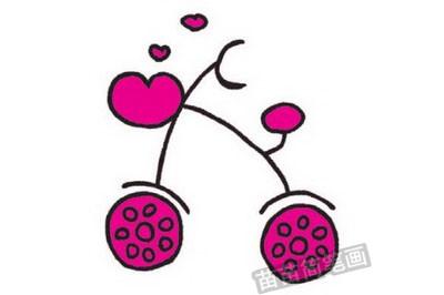自行车简笔画图片教程步骤四