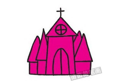 教堂简笔画图片教程步骤四