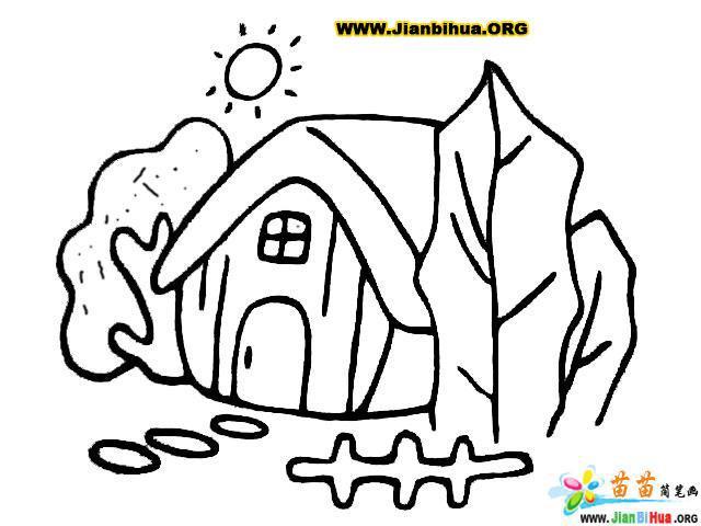 村子简笔画_幼儿画美丽的小村庄最简单