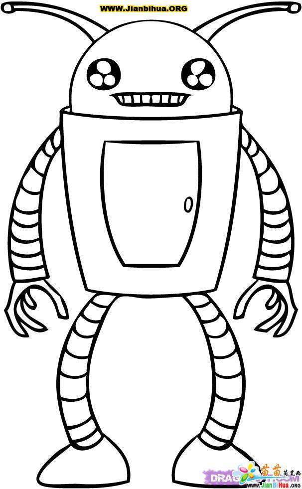 科幻机器人简笔画作品欣赏