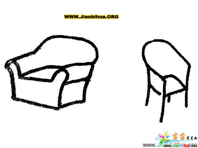 沙发简笔画_椅子简笔画_凳子简笔画_桌子简笔画_衣柜