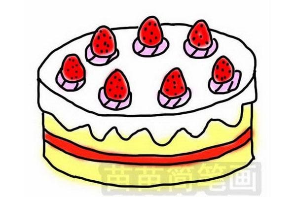 草莓生日蛋糕简笔画