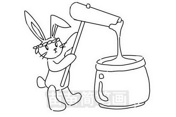 捣年糕的兔子简笔画