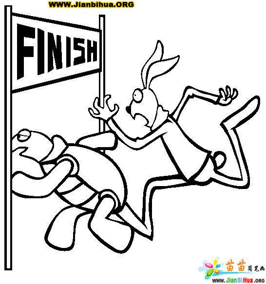 《龟兔赛跑》童话简笔画作品